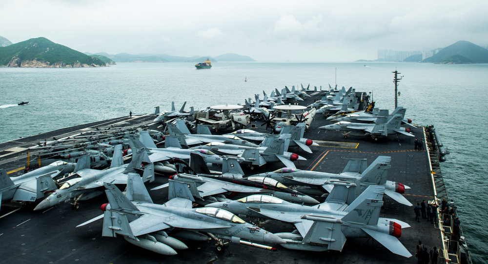 El portaaviones estadounidense USS George Washington se aproxima a Hong Kong, China