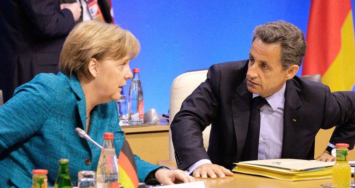 Canciller de Alemania, Angela Merkel, y ex presidente de Francia, Nicolas Sarkozy