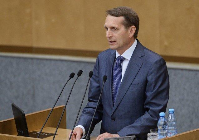 Serguéi Narishkin, presidente de la Duma de Estado