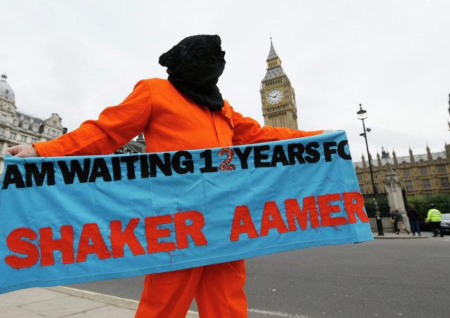 Protesta contra la detención de Shaker Aamer en London (archivo)