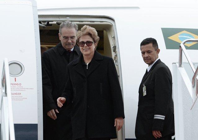 La presidenta de Brasil, Dilma Rousseff, llega a la cumbre de los BRICS