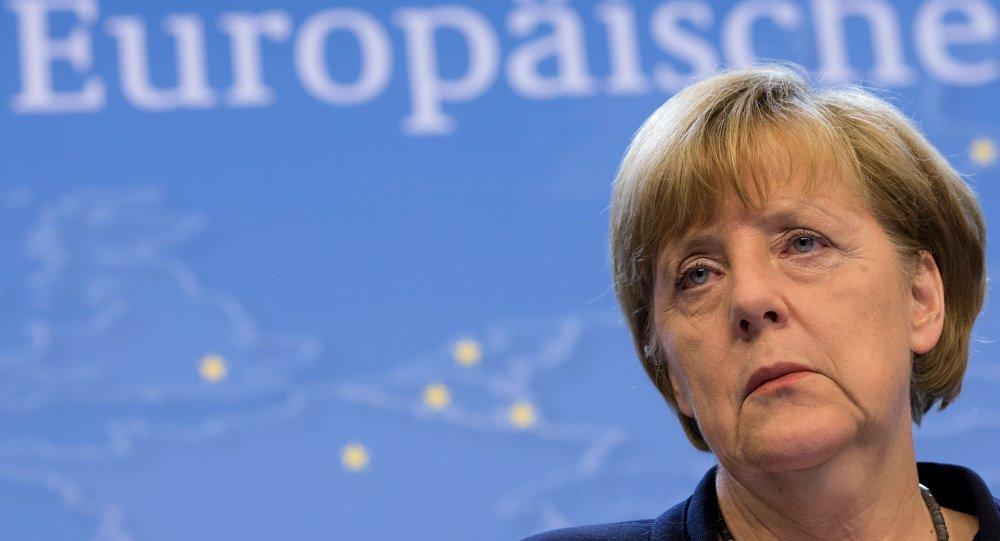 La canciller de Alemania, Angela Merkel, en la conferencia de prensa después de una cumbre en Bruselas