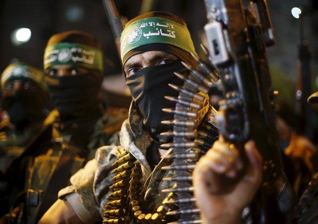 Militantes palestinos de Hamás en la Ciudad de Gaza, el 8 de julio, 2015