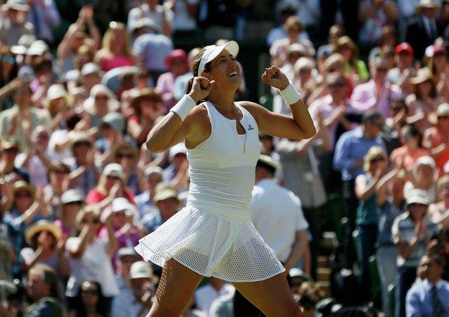 Garbiñe Muguruza despues de ganar en el final de Wimbledon, el 9 de julio, 2015