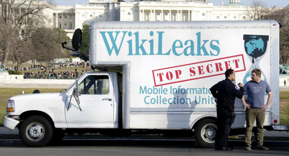Un vehículo de Wikileaks en Washington