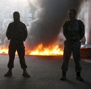 Miembros del grupo radical Pravy Sektor en Kiev