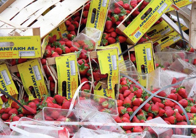 Un camión con fresas