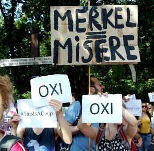 Manifestación en apoyo de Grecia en Berlin, el 17 de julio, 2015