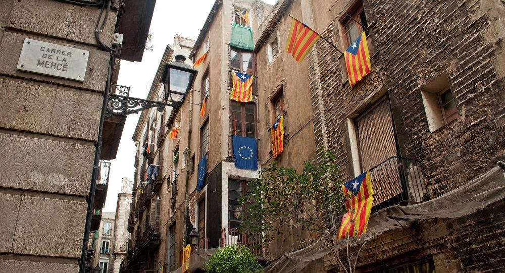 Banderas de Cataluña y UE
