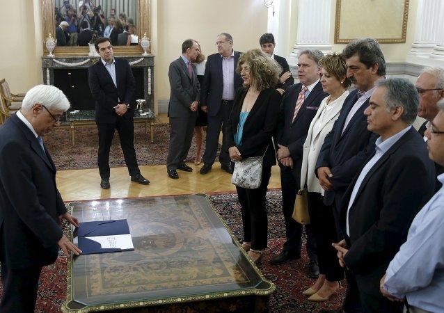 Ceremonia de juramento de los nuevos ministros y viceministros del Gobierno de Grecia, el 18 de julio, 2015