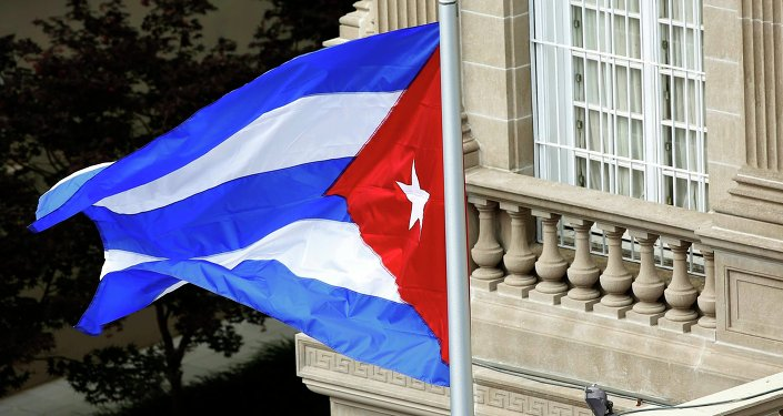 La bandera cubana sobre la embajada de Cuba en Washington (archivo)