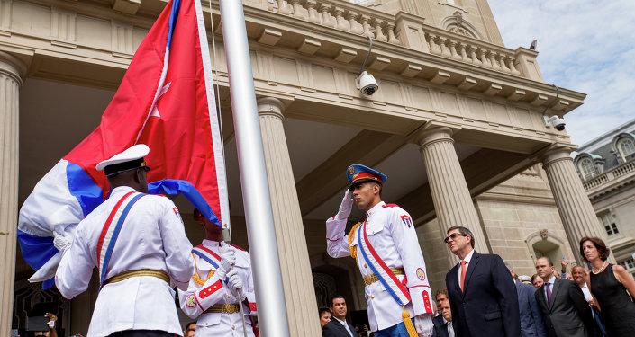 Ceremonia del alza de la bandera de Cuba en Washington