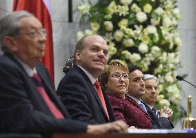La presidenta de Chile Michelle Bachelet asistió a la Cuenta Pública de la gestión del Congreso Nacional