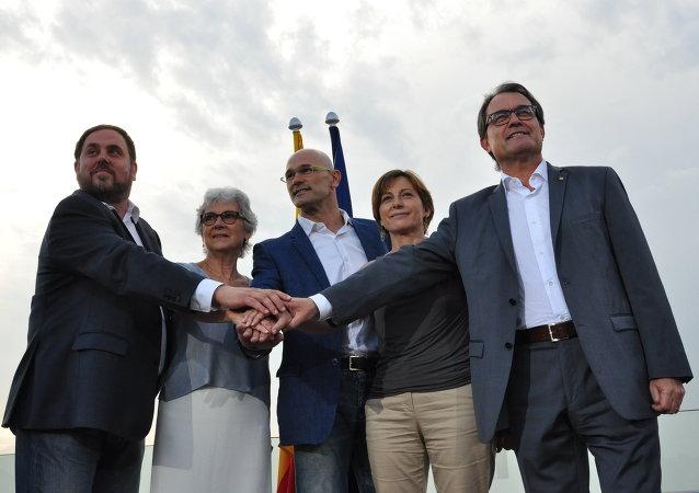 Presentación de la candidatura Junts pel Sí, el 20 de julio, 2015