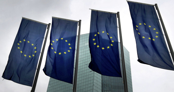 Banderas de la Unión Europea frente a la sede del Banco Central Europeo