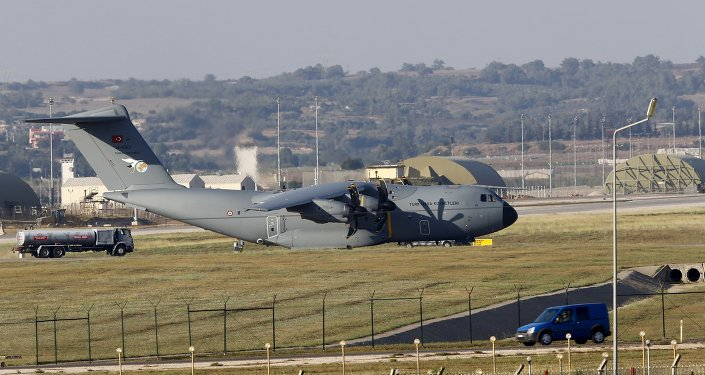 A Turkish Air Force A400M tactical transport aircraft is parked at Incirlik airbase in the southern city of Adana, Turkey, July 24, 2015