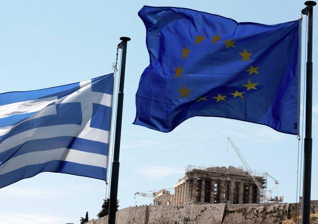 Las banderas de Grecia y UE