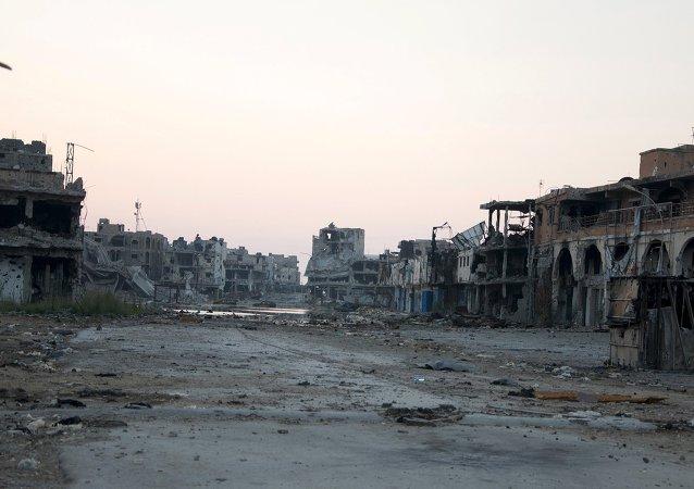 Edificios destruidos en Bengasi, Libia