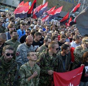 Mitin antigubernamental del grupo Pravy Sektor en Kiev, el 21 de julio, 2015
