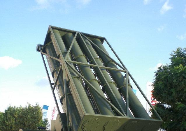 Un lanzacohetes de misiles Barak 8