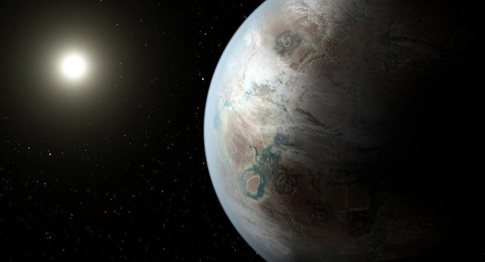 Imágen de la posible apariencia de la exoplaneta Kepler-452b