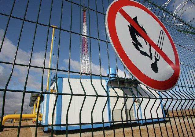 Gasoducto y la estación de distribución de gas en la región de Kaliningrad, Rusia