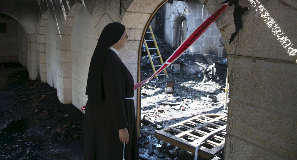 Iglesia quemada en Israel