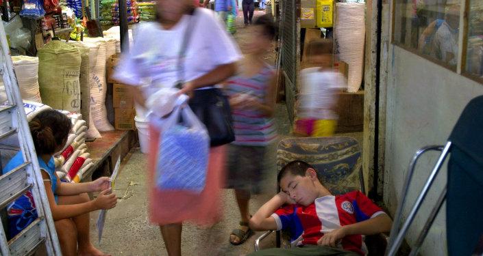 Un mercado en Asunción, Paraguay