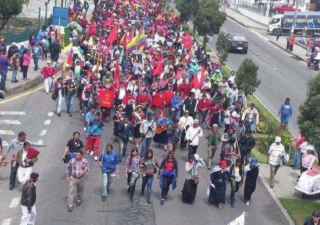 Marcha indígena en Ecuador llega a las puertas de Quito