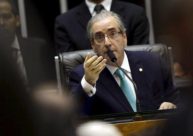 Eduardo Cunha, presidente de la Cámara de Diputados de Brasil, durante la sesión de la Cámara, el 6 de agosto, 2015