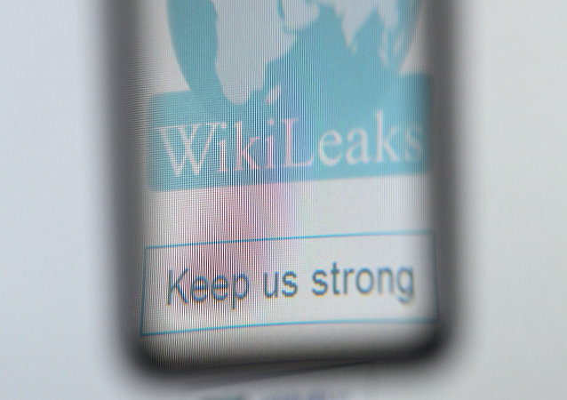 The logo of the website specialised in publishing secret documents WikiLeaks