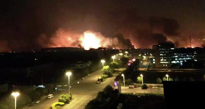 Explosión en la zona industrial de la ciudad china de Tianjin