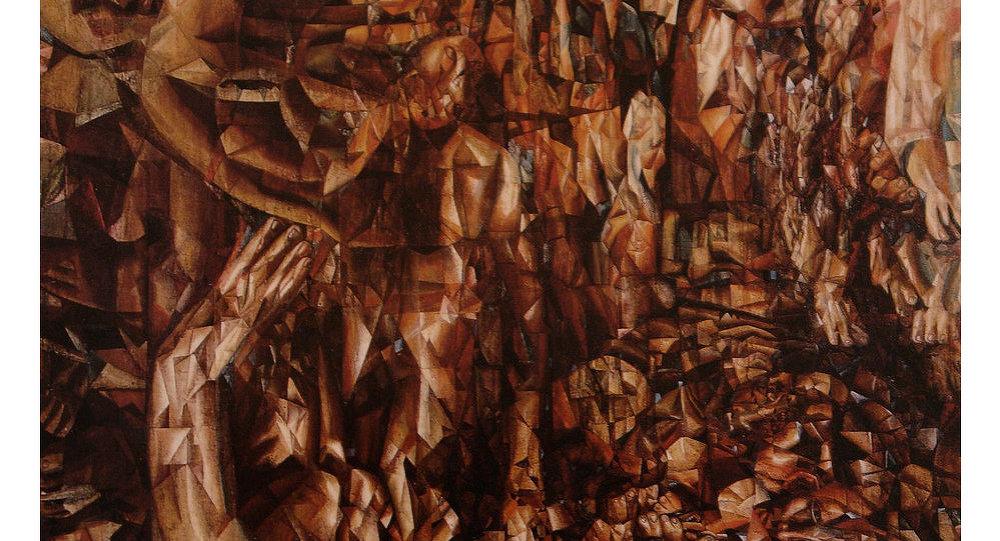 Pintura Guerra con Alemania de Pável Filónov