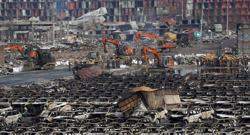 Lugar de explosiones en el distrito de Binhai en Tianjin, China, el 17 de agosto, 2015