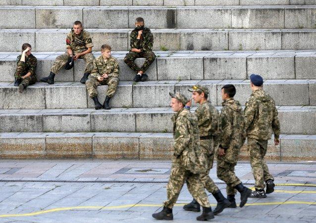 Miembros de Pravy Sektor en Kiev