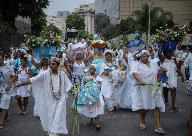 Seguidores de la religión Candomblé