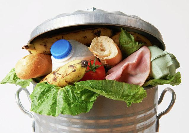 Comida fresca en el basurero