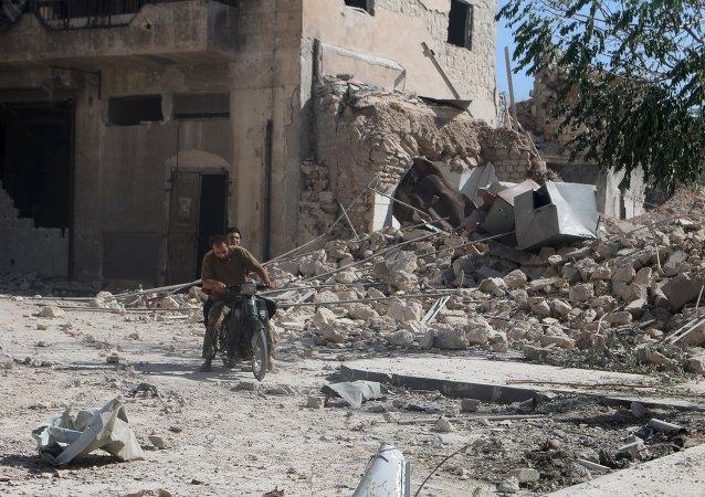 Una zona destruida en la ciudad de Alepo (noroeste de Siria)