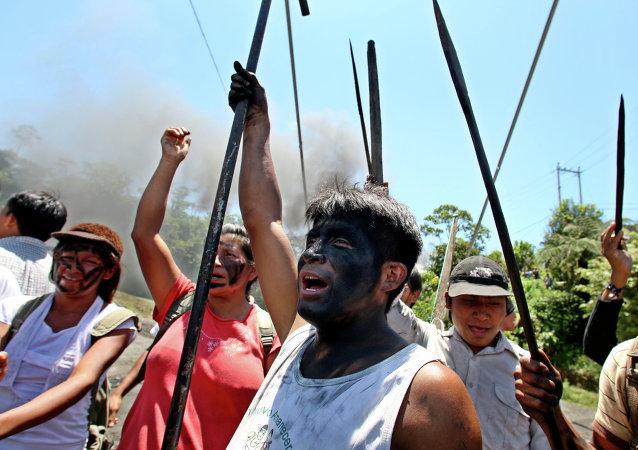 Los shuar protestan en Macas, 2009