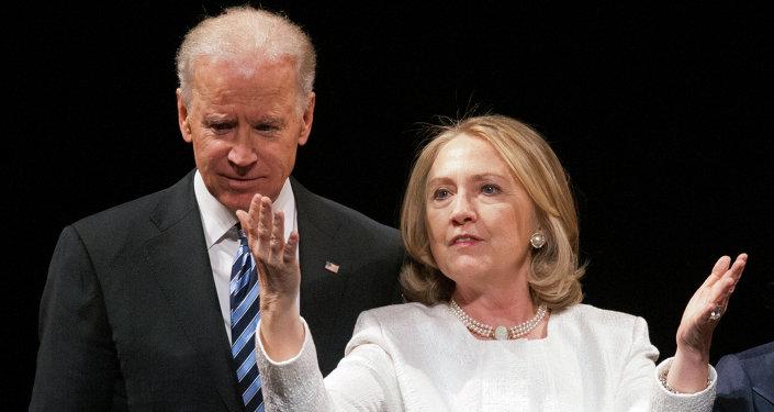 Vicepresidente de EEUU, Joe Biden, y ex secretaria de Estado de EEUU, Hillary Clinton (archivo)