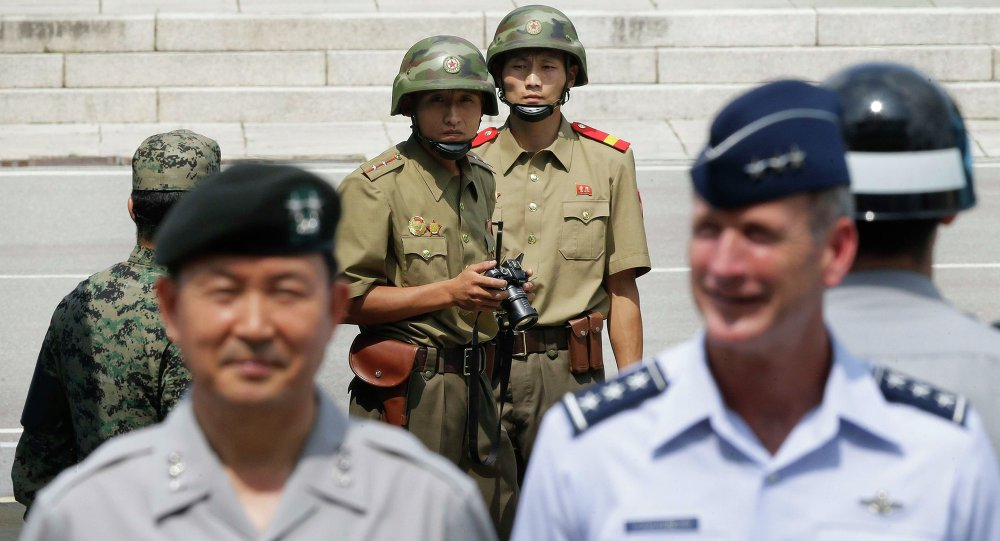 North Korean army soldiers and UN soldiers in DMZ