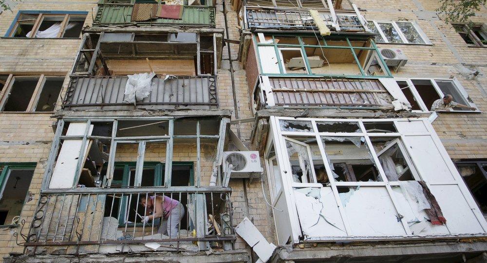 Un edificio destruido en Górlovka