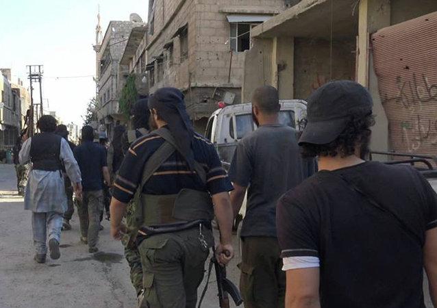 Militantes del Estado Islámico en Damasco, Siria, el 30 de agosto, 2015