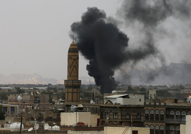 Smoke billows from the military academy during a Saudi-led air strike in Yemen's capital Sanaa September 2, 2015