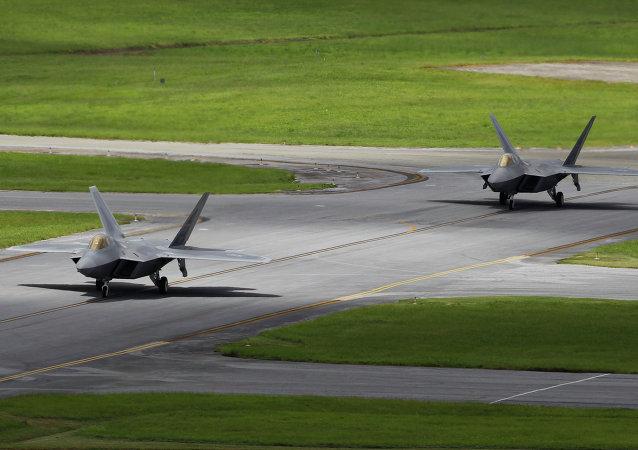 Cazas F-22 Raptor en Japón (archivo)