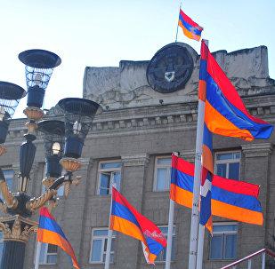 Palacio presidencial en Stepanakert, capital de la República de Nagorno-Karabaj