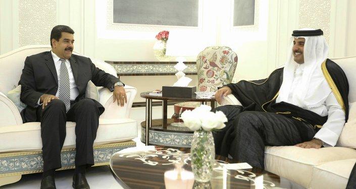 Presidente de Venezuela Nicolás Maduro y Emir de Catar Tamim Bin Hamad Al Zani