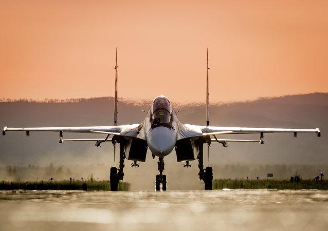 El avión Su-30SM de las Fuerzas Aeroespaciales de Rusia