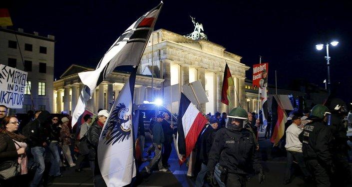 Manifestación del movimiento Pegida en Berlin, el 7 de septiembre, 2015