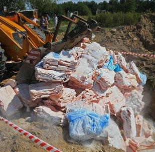 Destrucción de los alimentos vetados en Rusia (archivo)